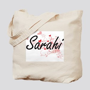 Sarahi Artistic Name Design with Hearts Tote Bag